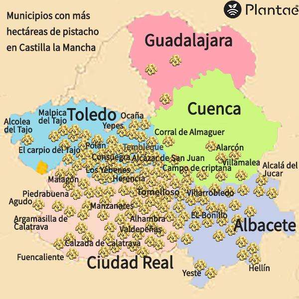 Mapa de pistachos de Castilla la Mancha-Sensores/sonda agrícolas para pistacho