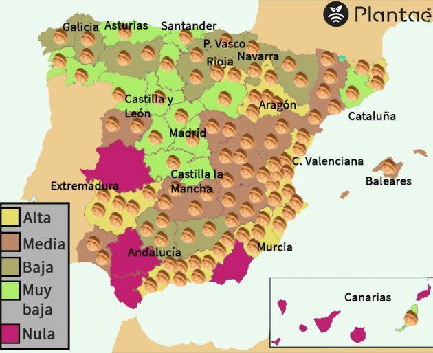 Mapa de nogal en España