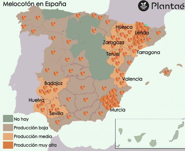 Mapa del melocotón en España