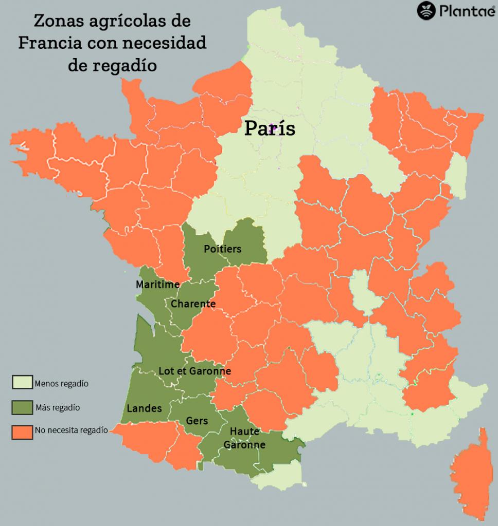 Zonas de regadío en Francia